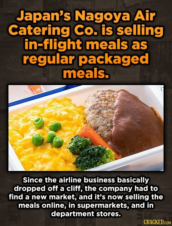 Japan's Nagoya Air Catering Co. is selling in-flight meals as regular packaged meals. Since the airline business basically dropped off a cliff, the company had to find a new market, and it's now selling the meals online, in supermarkets, and in department stores.