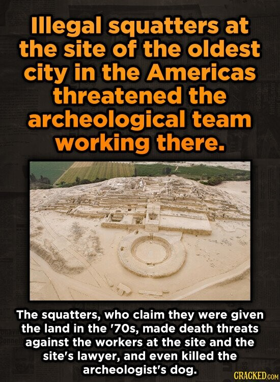 lllegal squatters at the site of the oldest city in the Americas threatened the archeological team working there. The squatters, who claim they were g