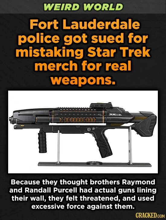 WEIRD WORLD Fort Lauderdale police got sued for mistaking Star Trek merch for real weapons. 2929779992 Because they thought brothers Raymond and Randall Purcell had actual gUns lining their wall, they felt threatened, and used excessive force against them.