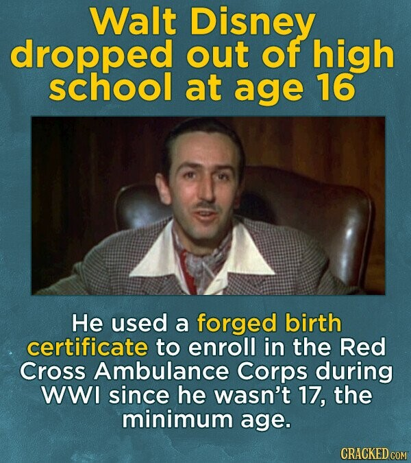 Walt Disney dropped out of high school at age 16 He used a forged birth certificate to enroll in the Red Cross Ambulance Corps during WWI since he wasn't 17, the minimum age. CRACKED COM