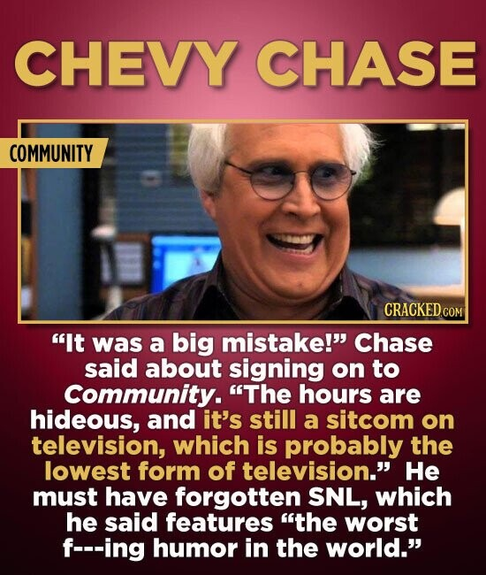 CHEVY CHASE COMMUNITY It was a big mistake! Chase said about signing on to Community. The hours are hideous, and it's still a sitcom on television,