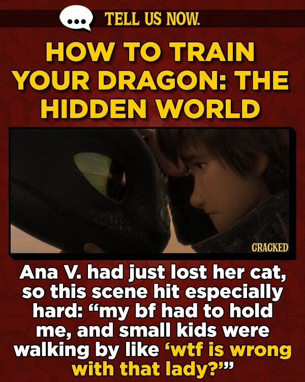 TELL US NOW. HOW TO TRAIN YOUR DRAGON: THE HIDDEN WORLD CRACKED Ana V. had just lost her cat, sO this scene hit especially hard: my bf had to hold me, and small kids were walking by like 'wtf is wrong with that lady?
