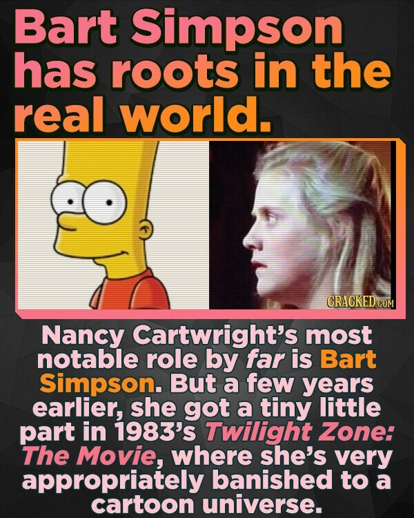 Bart Simpson has roots in the real world. CRACKEDCO Nancy Cartwright's most notable role by far is Bart Simpson. But a few years earlier, she got a tiny little part in 1983's Twilight Zone: The Movie, where she's very appropriately banished to a cartoon universe.