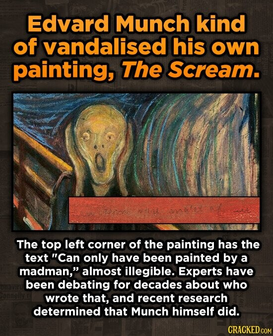 Edvard Munch kind of vandalised his own painting, The scream. The top left corner of the painting has the text Can only have been painted by a madman almost illegibLE. Experts have been debating for decades about who wrote that, and recent research determined that Munch himself did.