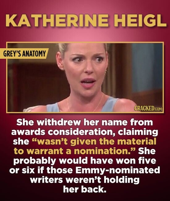KATHERINE HEIGL GREY'S ANATOMY She withdrew her name from awards consideration, claiming she wasn't given the material to warrant a nomination. She