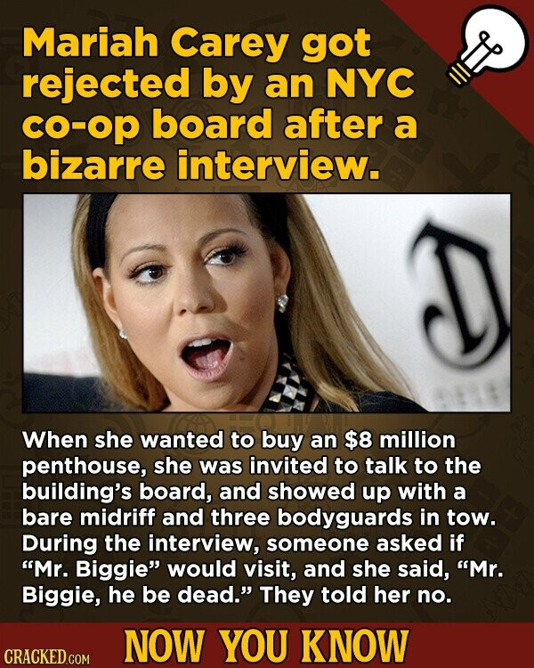 Mariah Carey got rejected by an NYC CO-op board after a bizarre interview. When she wanted to buy an $8 million penthouse, she was invited to talk to the building's board, and showed up with a bare midriff and three bodyguards in tow. During the interview, someone asked if Mr.