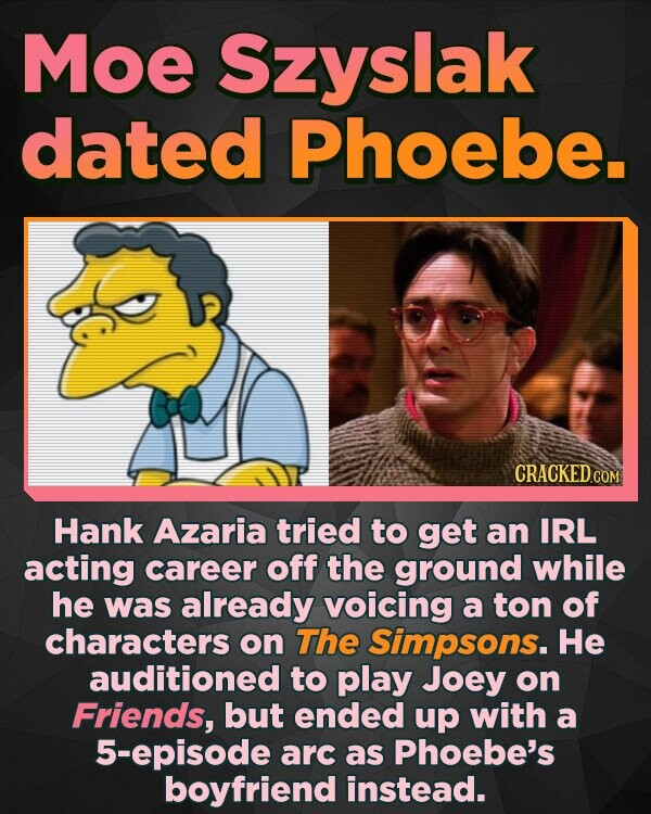 Moe Szyslak dated Phoebe. Hank Azaria tried to get an IRL acting career off the ground while he was already voicing a ton of characters on The Simpsons. He auditioned to play Joey on Friends, but ended up with a 5-episode arc as Phoebe's boyfriend instead.