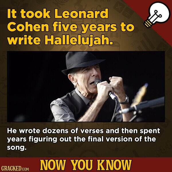 It took Leonard Cohen five years to write Hallelujah. He wrote dozens of verses and then spent years figuring out the final version of the song. NOW YOU KNOW