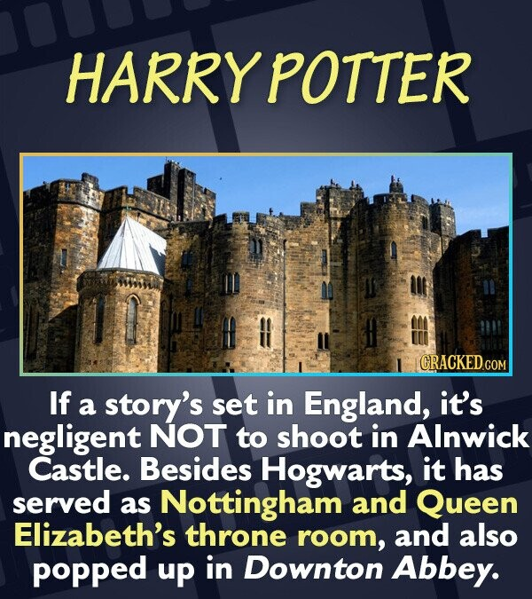 HARRY POTTER CRACKED.G If a story's set in England, it's negligent NOT to shoot in Alnwick Castle. Besides Hogwarts, it has served as Nottingham and Q