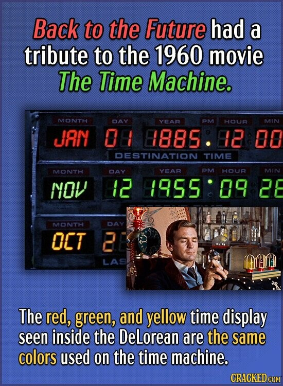 Back to the Future had a tribute to the 1960 movie The Time Machine. MONTH DAY YEAR PM HOUR MIN JAN 08 8885 12 00 DESTINATION TIME MONTH DAY YEAR PM H