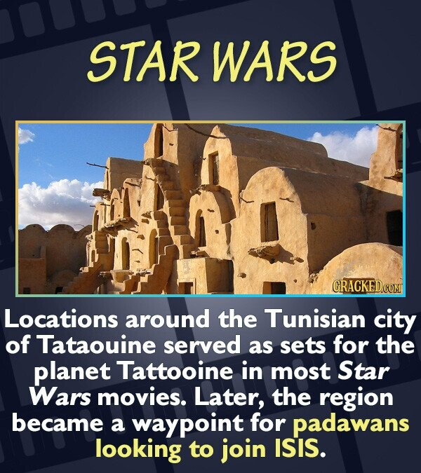 STAR WARS Locations around the Tunisian city of Tataouine served as sets for the planet Tattooine in most Star Wars movies. Later, the region became a