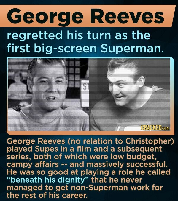 George Reeves regretted his turn as the first big-screen Superman. S CRACKED COM George Reeves (no relation to Christopher) played Supes in a film and a subsequent series, both of which were low budget, campy affairs and massively successful. He was SO good at playing a role he called beneath his