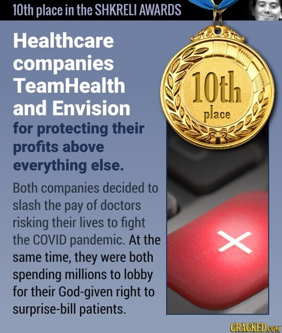 10th place in the SHKRELI AWARDS Healthcare companies Teamhealth 10th and Envision place for protecting their profits above everything else. Both companies decided to slash the pay of doctors risking their lives to fight the COVID pandemic. At the same time, they were both X spending millions to lobby for