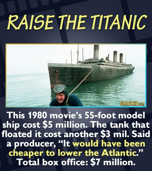 RAISE THE TITANIC CRACKED CON This 1980 movie's 55-foot model ship cost $5 million. The tank that floated it cost another $3 mil. Said a producer, It