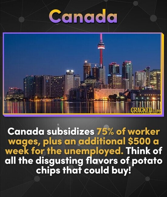Canada CRACKEDG COM Canada subsidizes 75% of worker wages, plus an additional $500 a week for the unemployed. Think of all the disgusting flavors of p
