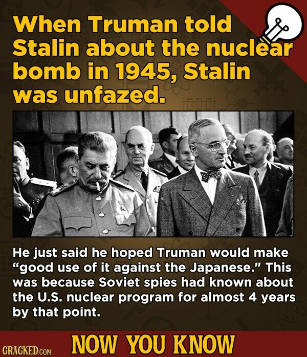When Truman told Stalin about the nuclear bomb in 1945, Stalin was unfazed. He just said he hoped Truman would make good use of it against the Japanese. This was because Soviet spies had known about the U.S. nuclear program for almost 4 years by that point. NOW YOU KNOW