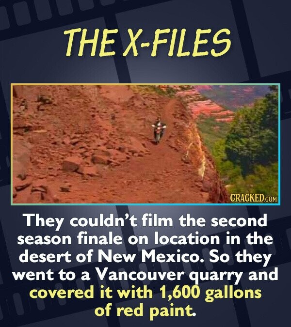 THEX-FILES CRACKED They couldn't film the second season finale on location in the desert of New Mexico. So they went to a Vancouver quarry and covered