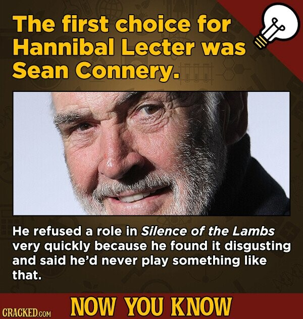 The first choice for Hannibal Lecter was Sean Connery. He refused a role in Silence of the Lambs very quickly because he found it disgusting and said he'd never play something like that. NOW YOU KNOW
