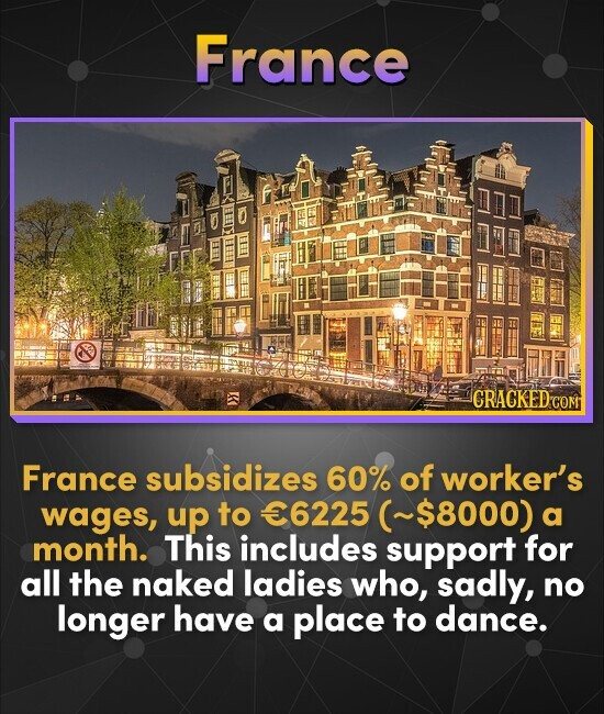 France CRACKED C France subsidizes 60% of worker's wages, up to 6225 (~$8000) a month. This includes support for all the naked ladies who, sadly, no l