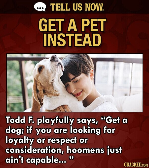 TELL US NOW. GET A PET INSTEAD Todd F. playfully says, Get a dog; if you are looking for loyalty or respect or consideration, hoomens just ain't capable...  CRACKED.COM