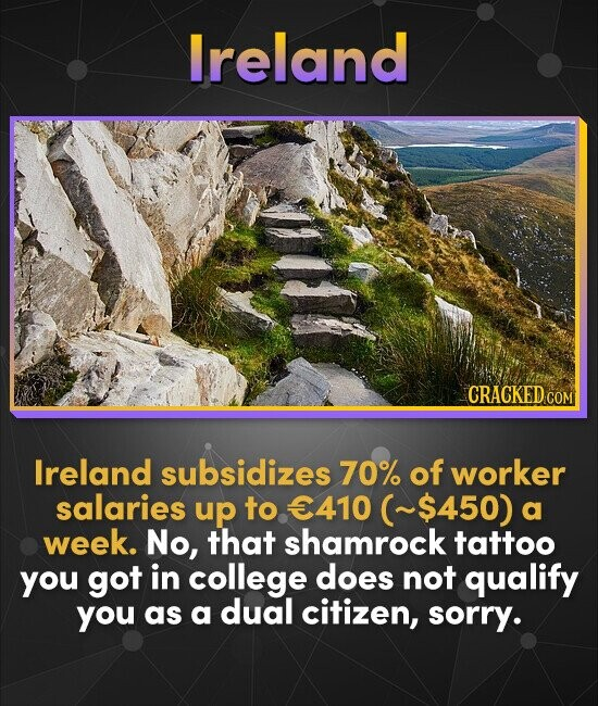 Ireland CRACKED cO COM lreland subsidizes 70% of worker salaries up to 410 (~$450) a week. No, that shamrock tattoo you got in college does not qualif