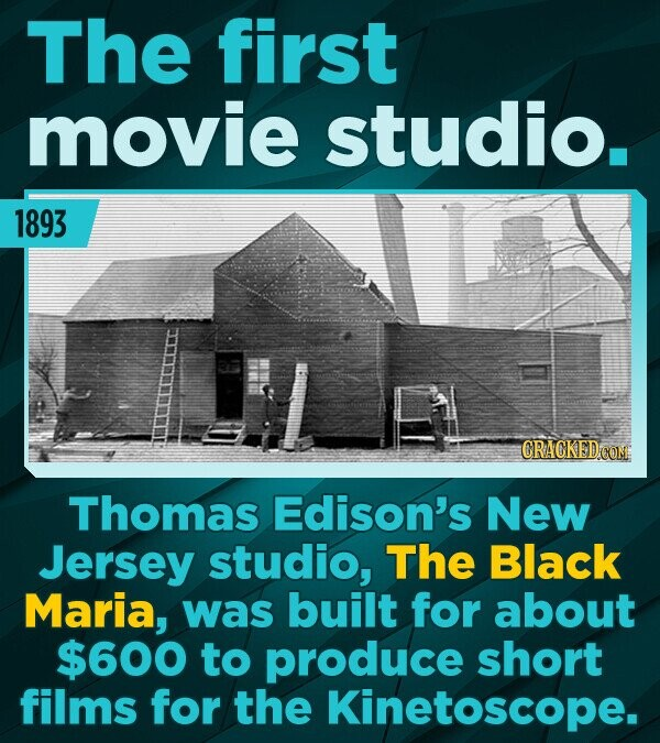 The first movie studio. 1893 CRACKEDcO Thomas Edison's New Jersey studio, The Black Maria, was built for about $600 to produce short films for the Kin