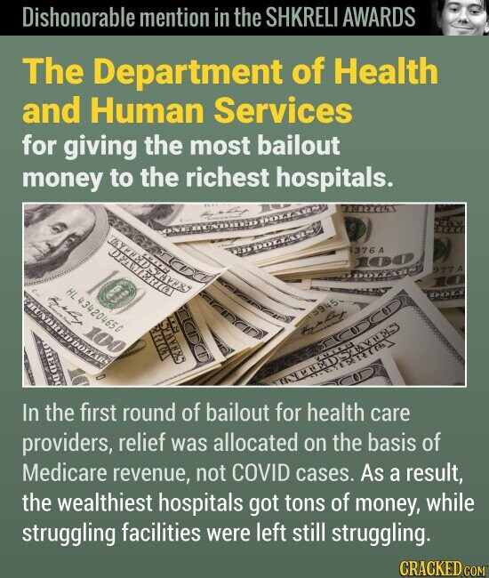 Dishonorable mention in the SHKRELI AWARDS The Department of Health and Human Services for giving the most bailout money to the richest hospitals. In the first round of bailout for health care providers, relief was allocated on the basis of billings to Medicare, not COVID cases.