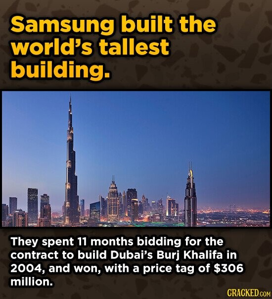 Samsung built the world's tallest building. They spent 11 months bidding for the contract to build Dubai's Burj Khalifa in 2004, and won, with a price tag of $306 million.