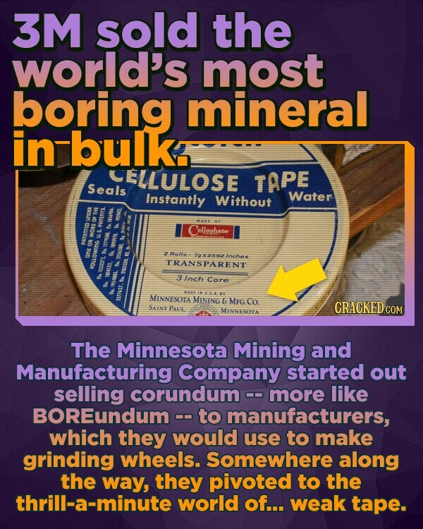 3M sold the world's most boring mineral in bulk ELLULOSE TAPE Seals Instantly Without Water ellophane Ros 'xsoa toches one TRANSESINhe FOLLOWING 3 Inch Core MINNESOTA MINING & MIG Co SAINT CRACKED COM PAUE MINNESOTA The Minnesota Mining and Manufacturing Company started out selling corundum more like BOREundum -- to manufacturers, which