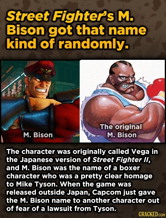 Street Fighter's M. Bison got that name kind of randomly. om The original M. Bison M. Bison The character was originally called Vega In the Japanese version of Street Fighter lI, and M. Bison was the name of a boxer character who was a pretty clear homage to Mike Tyson.