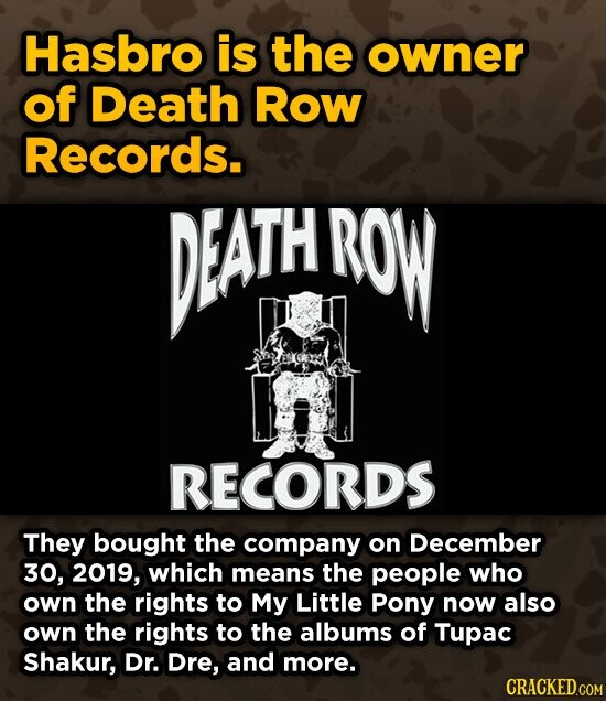 Hasbro is the owner of Death Row Records. PEATH ROW RECORDS They bought the company on December 30, 2019, which means the people who own the rights to My Little Pony now also own the rights to the albums of Tupac Shakur, Dr. Dre, and more. CRACKED.COM