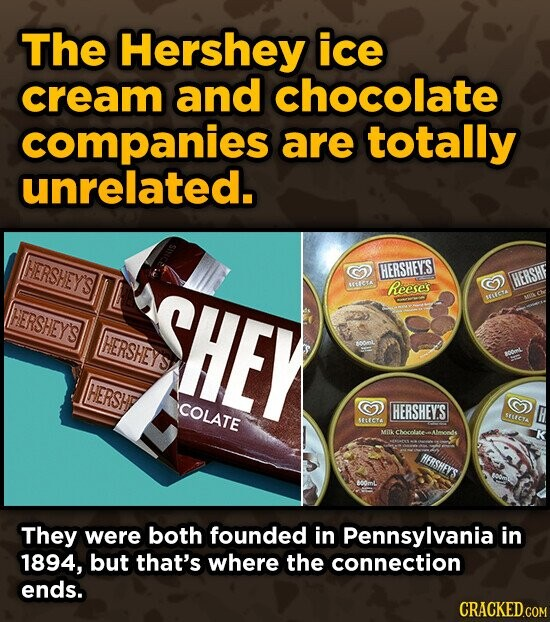 The Hershey ice cream and chocolate companies are totally unrelated. HERSHEY'S HERSHEYS HERSHF S11C1A HERSHEY'S SHEY Reese's LICA HERSHEYS HERSH COLATE HERSHEY'S SLECTA SCCTA MIIK Chocolateu Aleyoodds HERSHEYS They were both founded in Pennsylvania in 1894, but that's where the connection ends. CRACKED.COM