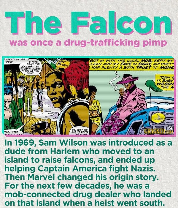 The Falcon was once a drug-trafficking pimp WERED AN AD GOT IN WITH THE LOCAL MOB, KEPT MY PAPER. IT WAS FROM THE CLEAN AND MY FACE IN SIGHT PRETT EXILES BUT HAD PLENTY A BOTH TRUST MONE DIONIT KNOW THEAA ATTHE TIME! *'CAN IT, BABY WILSON THE V so REOWING