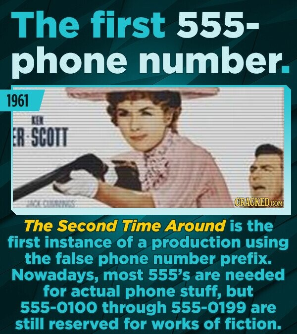 The first 555- phone number. 1961 EN ER SCOTT CRACKED CON The Second Time Around is the first instance of a production using the false phone number pr