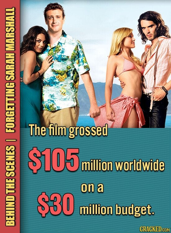 MARSHALL SARAH The film grossed FORGETTING $105 million worldwide SCENES on a THE $30 million budget. BEHIND