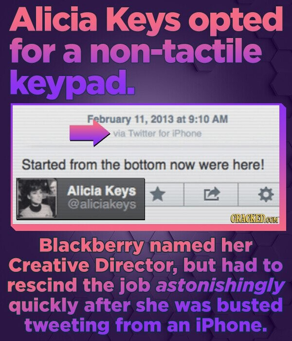 Alicia Keys opted for a non-tactile keypad. February 11, 2013 at 9:10 AM Vin Tller for iPhor Started from the bottom now were here! Allcla Keys alicia