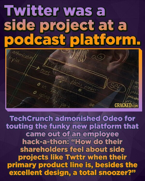 Twitter was a side project at a podcast platform. AHnnfcatim trples nane phane set In Amhir o going CRACKED TechCrunch admonished Odeo for touting the funky new platform that came out of an employee hack-a-thon: How do their shareholders feel about side projects like Twttr when their primary product line