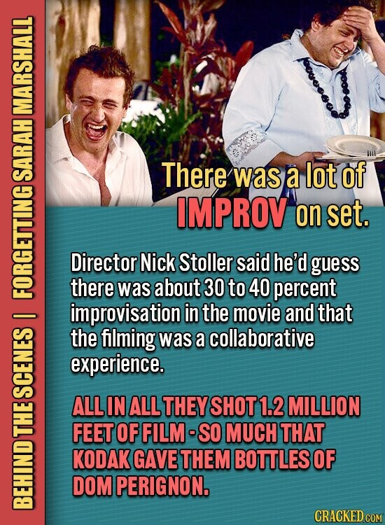MARSHALL There was a lot of SARAH IMPROV on set. Director Nick Stoller said he'd guess there was about 30 to 40 percent EORHENDNHS improvisation in the movie and that the filming was a collaborative experience. SGE ALL IN ALL THEY SHOT1.2 MILLION FEET OF FILM- SO MUCH THAT