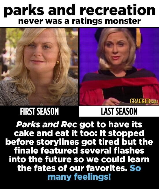 parks and recreation never was a ratings monster CRACKED CO FIRST SEASON LAST SEASON Parks and Rec got to have its cake and eat it too: It stopped before storylines got tired but the finale featured several flashes into the future so we could learn the fates of our favorites. So