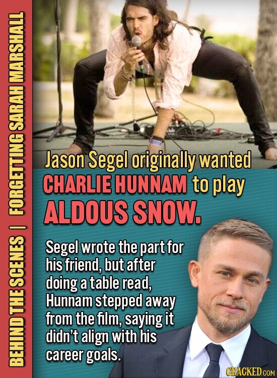 MARSHALL SARAH Jason Segel originally wanted CHARLIE HUNNAM to play ALDOUS SNOW. Segel wrote the part for his friend, but after doing a table read, SGE Hunnam stepped away THE from the film, saying it didn't align with his career goals. BEH