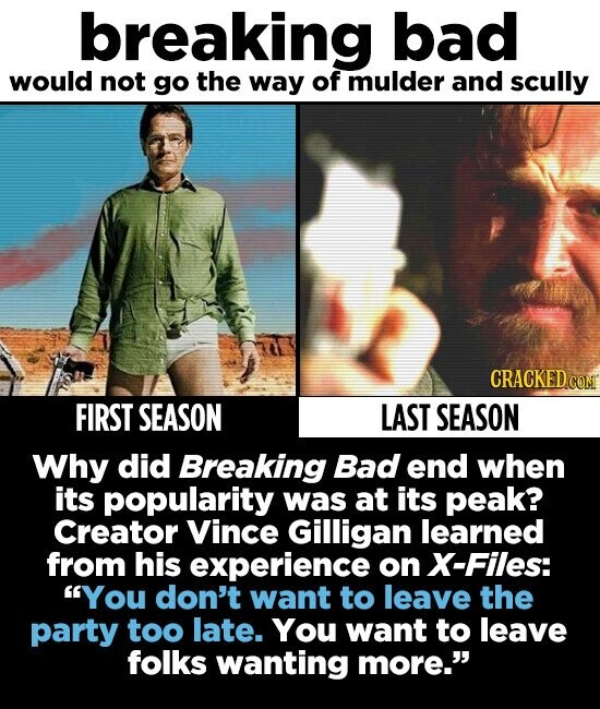 breaking bad would not go the way of mulder and scully CRACKED c FIRST SEASON LAST SEASON Why did Breaking Bad end when its popularity was at its peak? Creator Vince Gilligan learned from his experience on X-Files: You don't want to leave the party too late. You want to leave