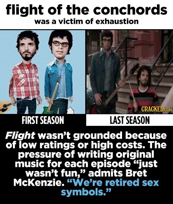 flight of the conchords was a victim of exhaustion CRACKEDco FIRST SEASON LAST SEASON Flight wasn't grounded because of low ratings or high costs. The pressure of writing original music for each episode just wasn't fun, admits Bret McKenzie. We're retired sex symbols.