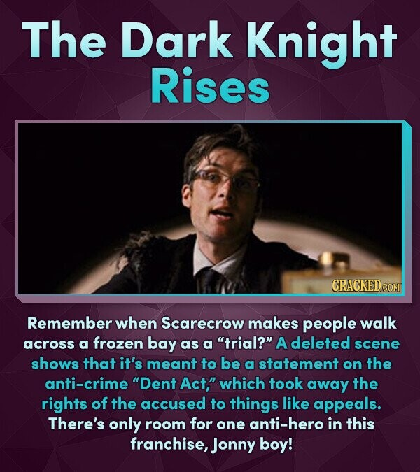 The Dark Knight Rises Remember when Scarecrow makes people walk across a frozen bay a trial? deleted as A scene shows that it's meant to be a statem