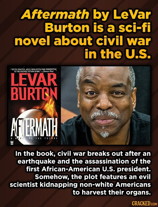Aftermath by LeVar Burton is a sci-fi novel about civil war in the U.S. SDEETYCBALTED AN NEWDEPTHAND PERSPECTIVE LEVAR to THE GCIENCE EICTIONT Iamo Post BURTON AFERMATH OFINE FOT/RE In the book, civil war breaks out after an earthquake and the assassination of the first African-American U.S. president. Somehow, the plot