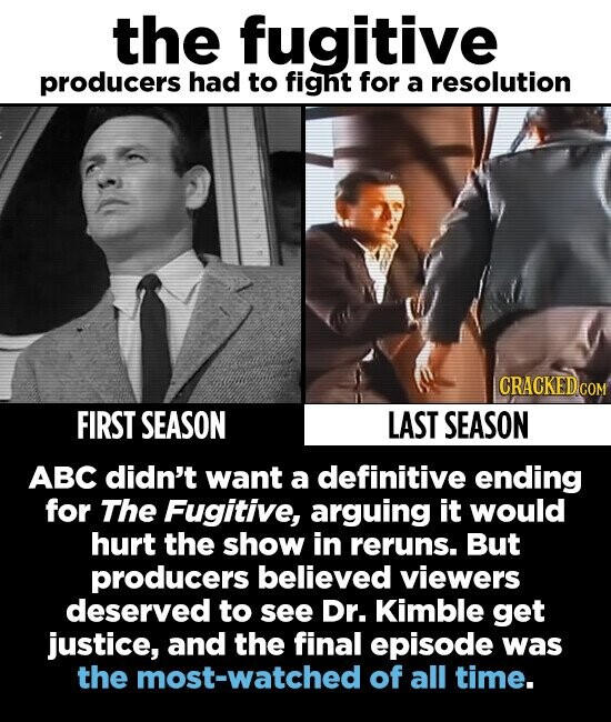 the fugitive producers had to fight for a resolution FIRST SEASON LAST SEASON ABC didn't want a definitive ending for The Fugitive, arguing it would hurt the show in reruns. But producers believed viewers deserved to see Dr. Kimble get justice, and the final episode was the most-watched of