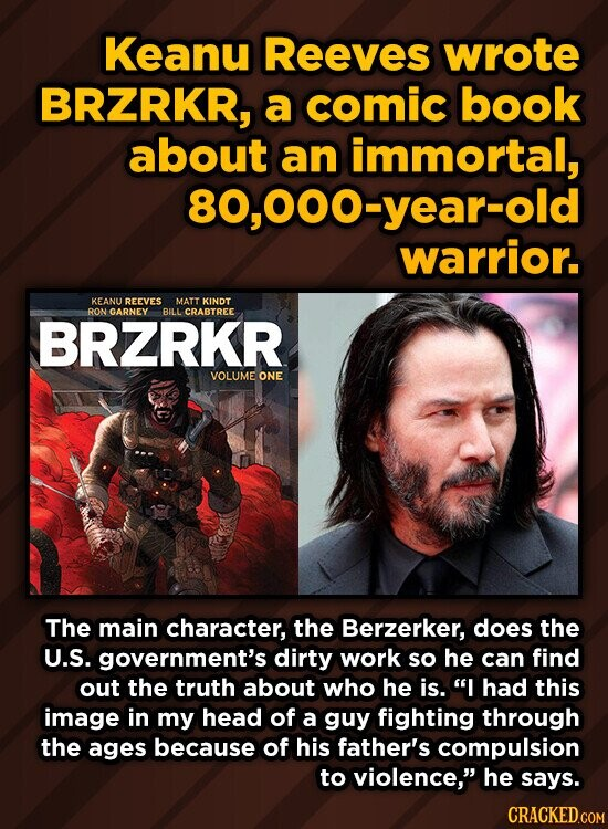 Keanu Reeves wrote BRZRKR, a comic book about an immortal, 80,000-year-old warrior. KEANU REEVES MATT KINDT RON GARNEY BILL CRABTREE BRZRKR VOLUME ONE The main character, the Berzerker, does the U.S. government's dirty work so he can find out the truth about who he is. I had this image in