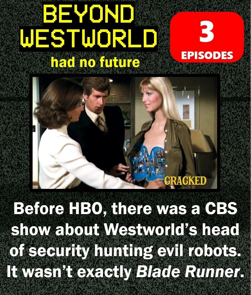 BEYOND WESTWORLD 3 EPISODES had no future CRACKED Before HBO, there was a CBS show about Westworld's head of security hunting evil robots. It wasn't exactly Blade Runner.