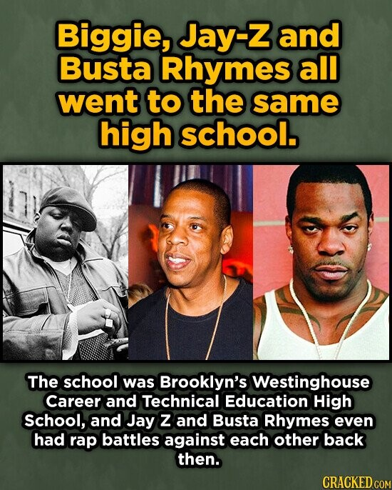 Biggie, Jay-z and Busta Rhymes all went to the same high school. The school was Brooklyn's Westinghouse Career and Technical Education High school, and Jay Z and Busta Rhymes even had rap battles against each other back then. CRACKED COM