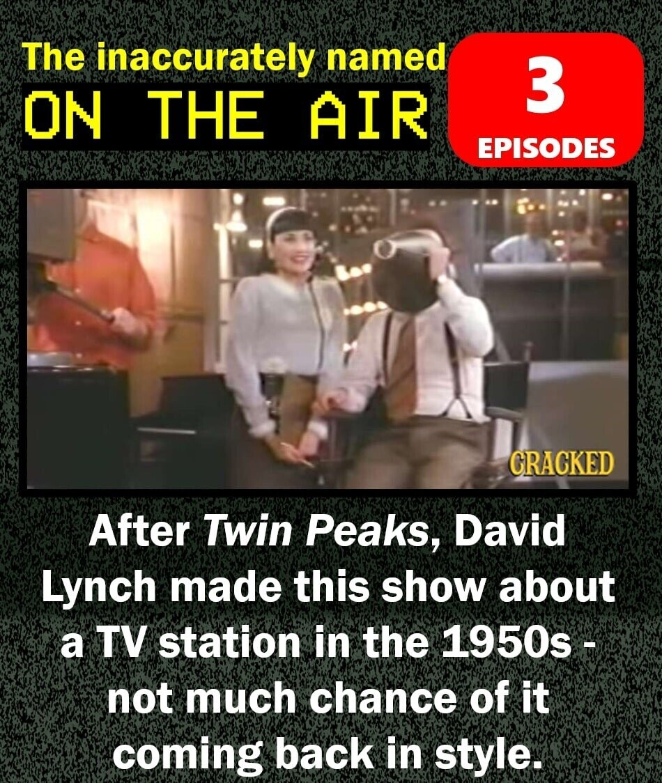 The inaccurately named 3 ON THE AIR EPISODES CRACKED After Twin Peaks, David Lynch made this show about a TV station in the 1950s - not much chance of it coming back in style.