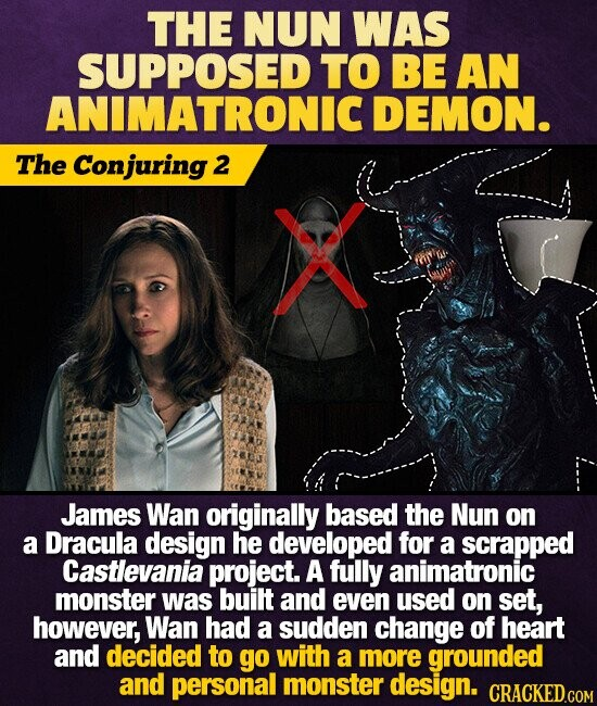 THE NUN WAS SUPPOSED TO BE AN ANIMATRONIC DEMON. The Conjuring 2 James Wan originally based the Nun on a Dracula design he developed for a scrapped Castlevania project. A fully animatronic monster was built and even used on set, however, Wan had a sudden change of heart and decided